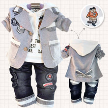 Special offer Three-piece suit hot children's clothing small set cotton coat+T-shirt+pants set baby boy/kid three piece sets(China (Mainland))