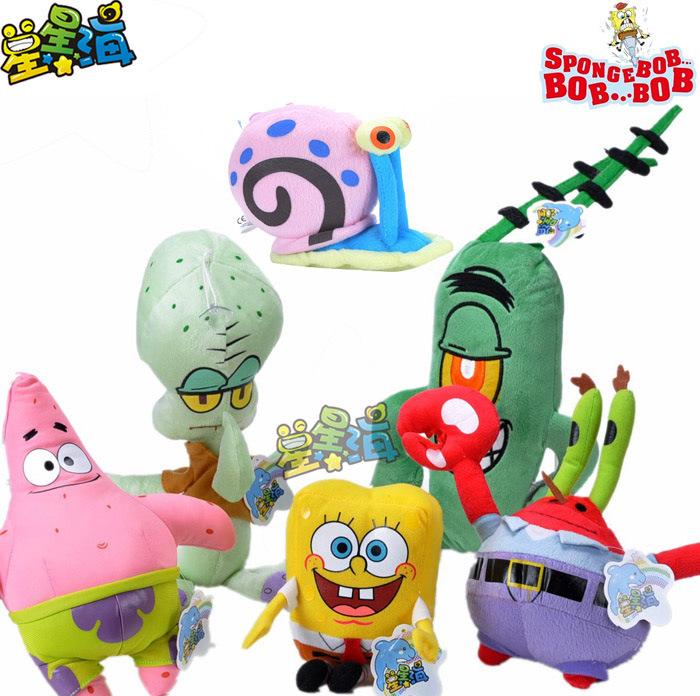 cartoon figures SpongeBob ,Patrick,Eugene H. Krabs,Sheldon J. Plankton,Squidward Tentacles,Gary plush toy , birthday gift w2036(China (Mainland))