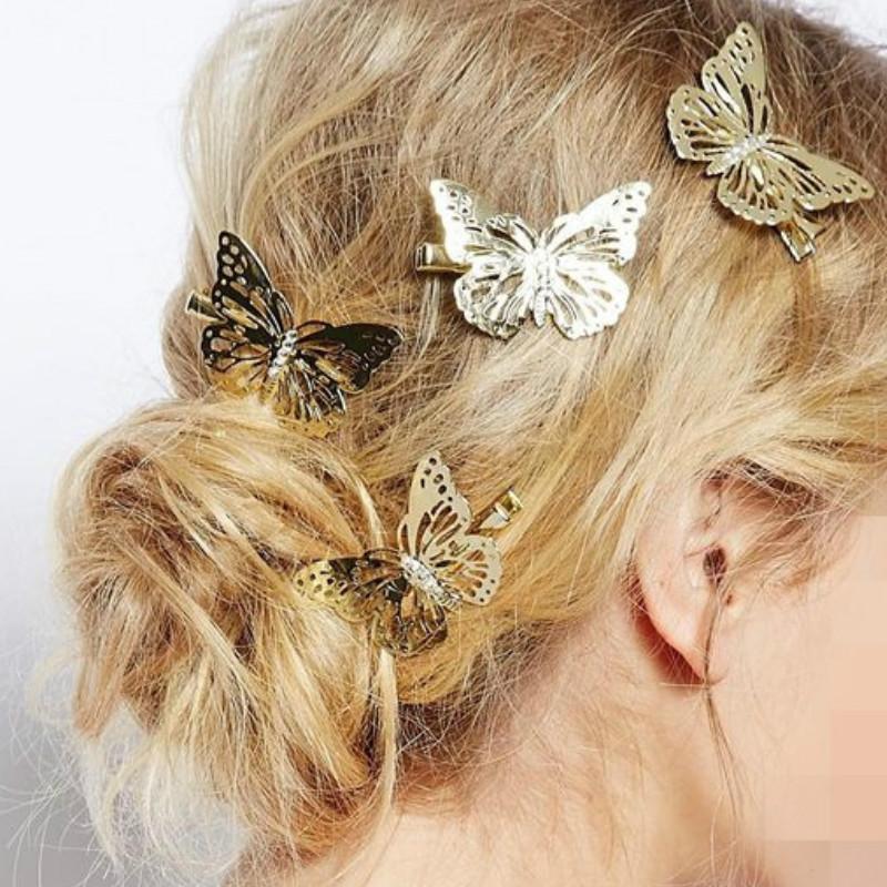 Women Butterfly Hairpin Headdress Side Golden Hair Clip Headband Hairpin Accessory Headpiece(China (Mainland))