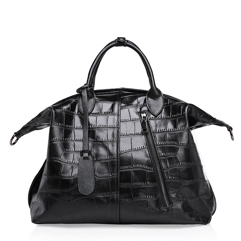 Red Tote Bags Black Leather Tote Croco Pattern Genuine Large Leather Handbags For Women 2015 Fall Winter(China (Mainland))
