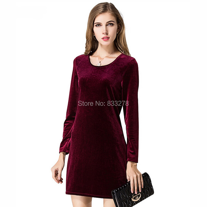 Casual Women's Dresses 2015 Fashion Sexy Deep O-neck Long Sleeve Corduroy Dress for lady  Red Black Mini Evening Party Dresses(China (Mainland))
