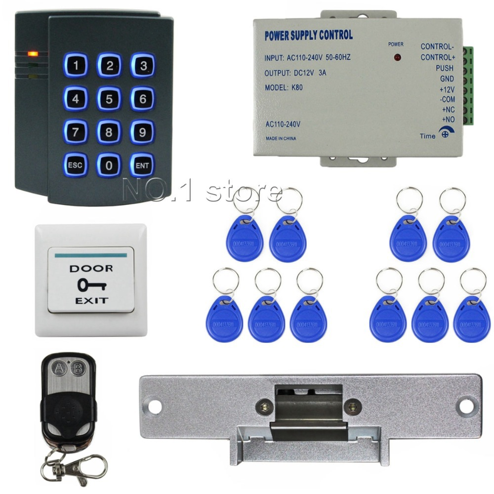 Remote Control Complete RFID Access Control System Kit + Strike Door Lock + Exit Button<br>