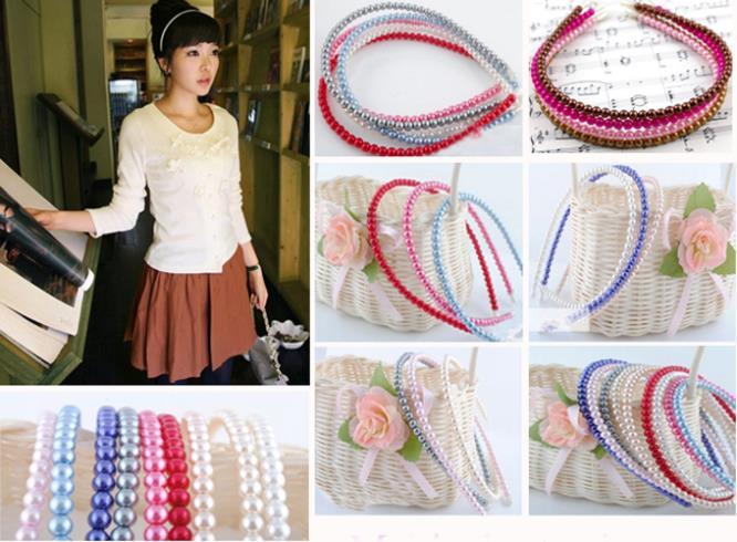 Lovely Women Girls Full Pearl Beads Headband Alice Hair Head Band Accessories(China (Mainland))