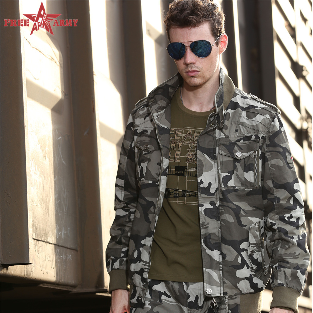 Free Army 2015 Hot Brand Mens Winter Jackets Army Style Stand Collar Autumn Winter Male Casual Cotton Homme Coats MS-6052B(China (Mainland))