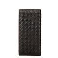 Men Woven Pattern Casual Long Wallet Fashion Solid Color Knitting Genuine Leather Money Clip Trendy Clutch