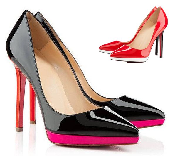 Fahion Sexy Pointed Toe Mixed Colors Thin High Heels Shoes Woman Classic Black Patent Leather Women Pumps Comfort Platform Shoes