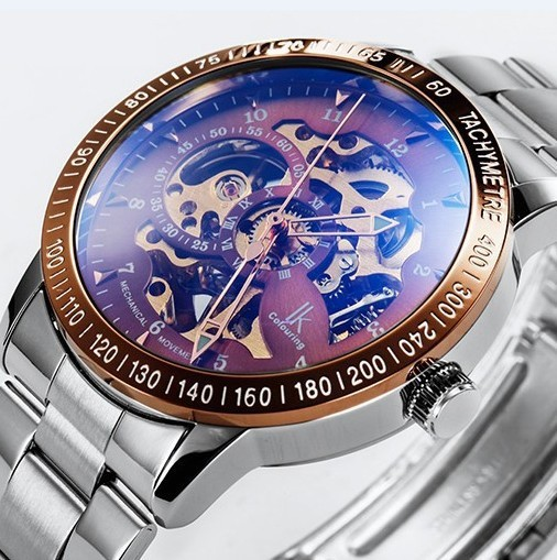 18 Colors Modern Military  IK Colouring Skeleton Automatic Wrist  Steel Mechanical Sport Watches For Mens 98226 +Original Box