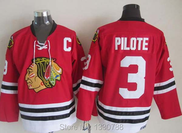 Chicago Blackhawks Jerseys #3 Pierre Pilote 1963-64 Vintage Throwback Ice Hockey Jersey Red, Name Number Logo are Sewn on(China (Mainland))