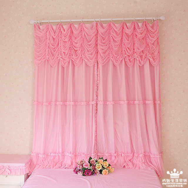 Quality yarn princess polka dot pink curtain,kids angel bedroom curtain,320*200cm
