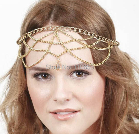 3 pc/lot wholesale new style fashion elegant exaggerated vintage multi layer chains crystal bead head chains hair jewely(China (Mainland))