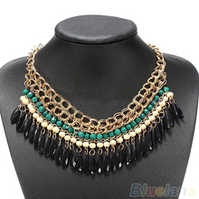 2013 New Bohemian Retro Vintage Fashion Lots layered Gem Beads Tassel Bib Choker Gold Necklace Women Female Free Shipping 0117(China (Mainland))
