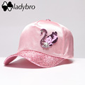 Ladybro Swan Sequin Women Baseball Cap Dad Hat Brand Street Ladies Fashion Casual Sweet Pink Hat