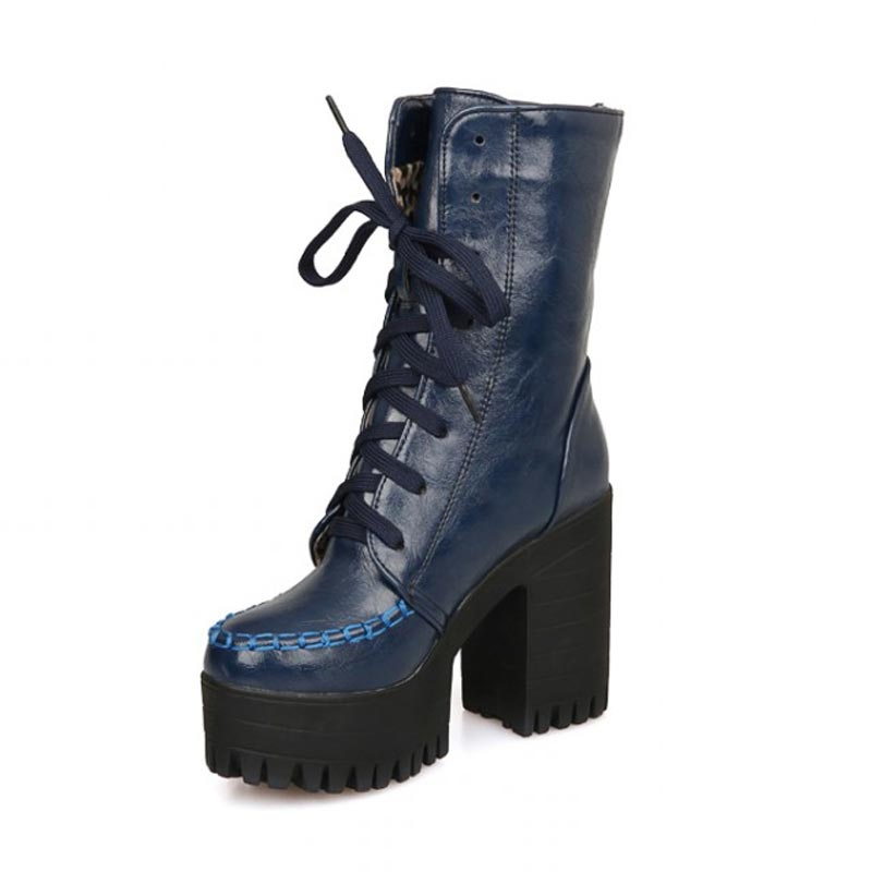 winter ankle boots heels lace up 4.3 inch platforms womens ...
