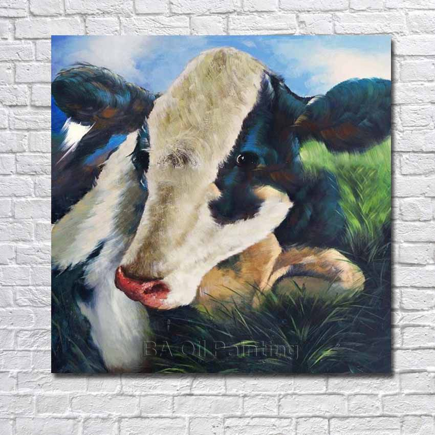 Free Hand Painted Abstract Modern Cow Oil Painting Canvas Wall Art Living Room Decor Wall Pictures Framed