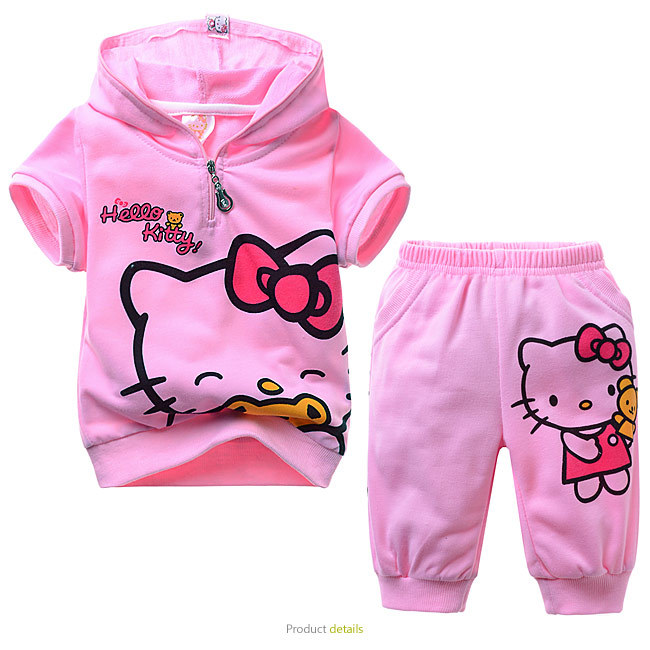 BEST OFFER Hello Kitti Summer Suit Girls Clothing Sets Baby Girl Shorts Lovely Short Sleeves Boutique Outfits Sportswear MS0332(China (Mainland))