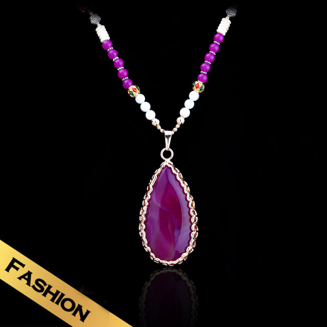 Special Long Chain Necklaces Natural Stone Synthetic Diamond Western Style Distinctive Vintage Pendant Jewelry XXL13A080514