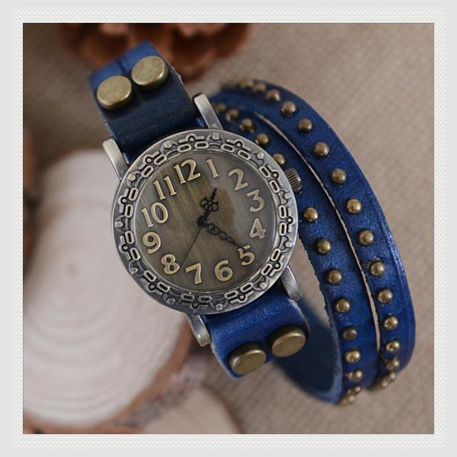 amazing cheap Fashion cowhide wrap bracelet table vintage rivet watch