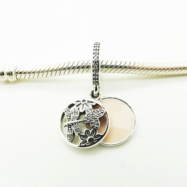 Серебро 925 бусины Springtimne европейский романтический стиль с мягкими розовой эмалью и ясно Cz 2016 весной новинка подвески ювелирные изделия