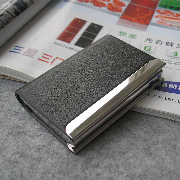 Magnetic lock leather bussiness name card holder organizer Card box case for men and women 1192(China (Mainland))