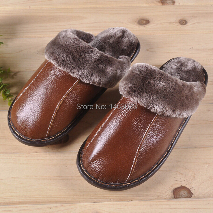 2015 new arrival brand winter warm slippers Couples genuine leather Leisure slippers women sheepskin shoes men indoor slippers(China (Mainland))