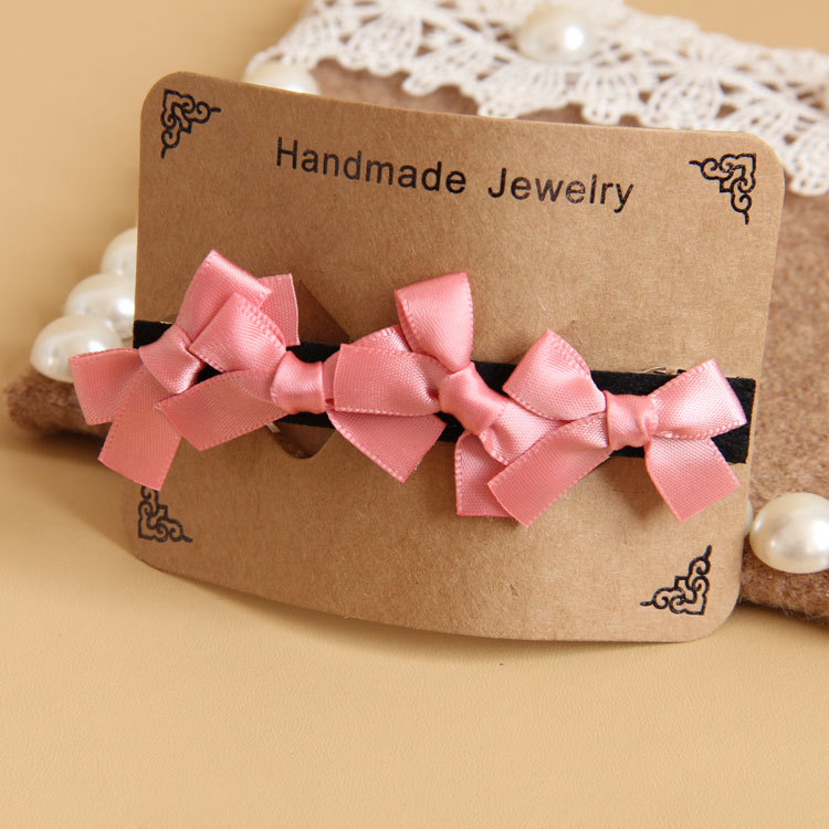 2014 Cute pink bow goody barrettes children girls bridal tiara wedding crown crystal hair flower jewelry(China (Mainland))