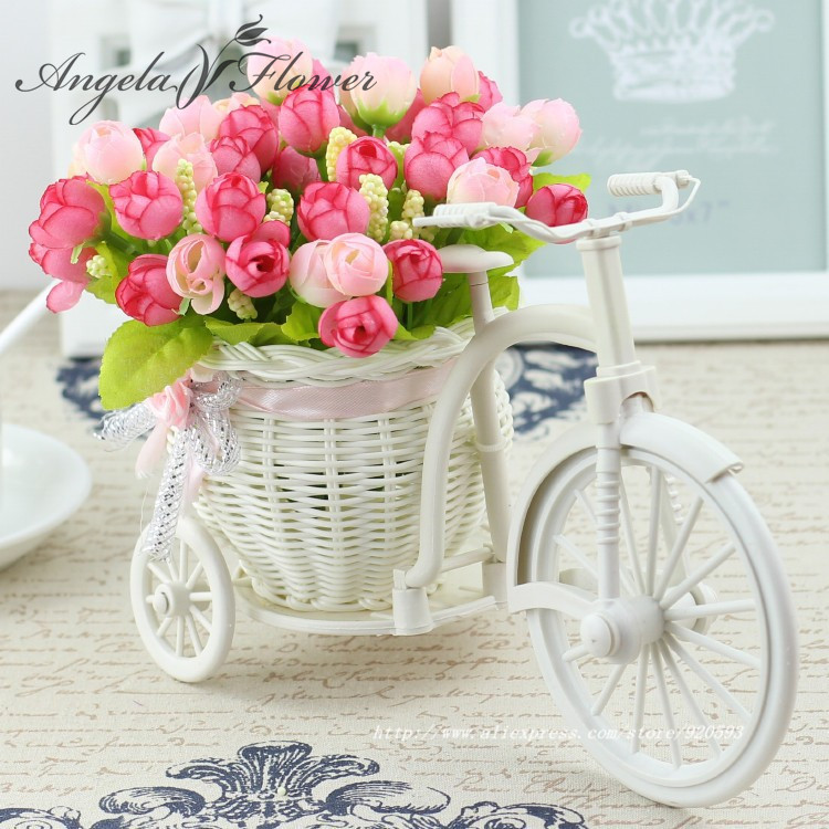 High Quality 17 kinds style rattan vase + flowers meters spring scenery rose artificial flower set home decoration Birthday Gift(China (Mainland))