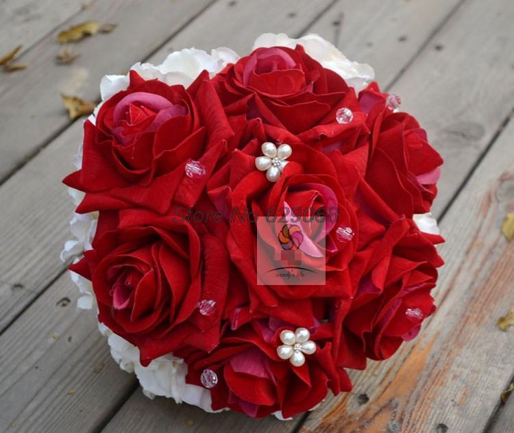 Aliexpress Buy 2014 New Wedding Flowers Bridal Bouquets White Amnd Red Rose Beading Bridal