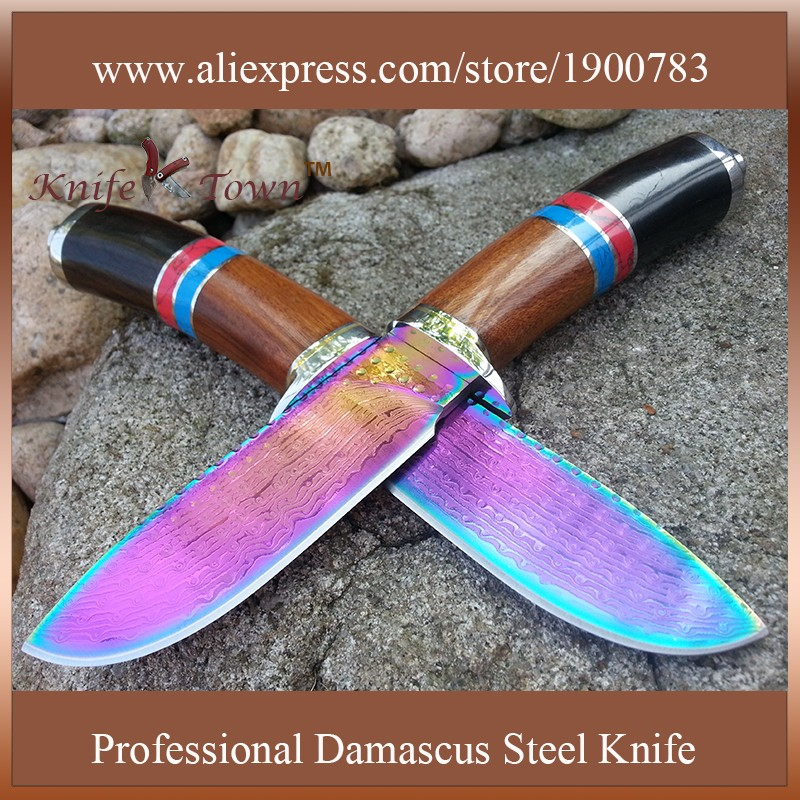 Buy Color titanium stainless steel knife fixed blade camping knife hunting knife damascus steel blade knife gift self defense DT111 cheap