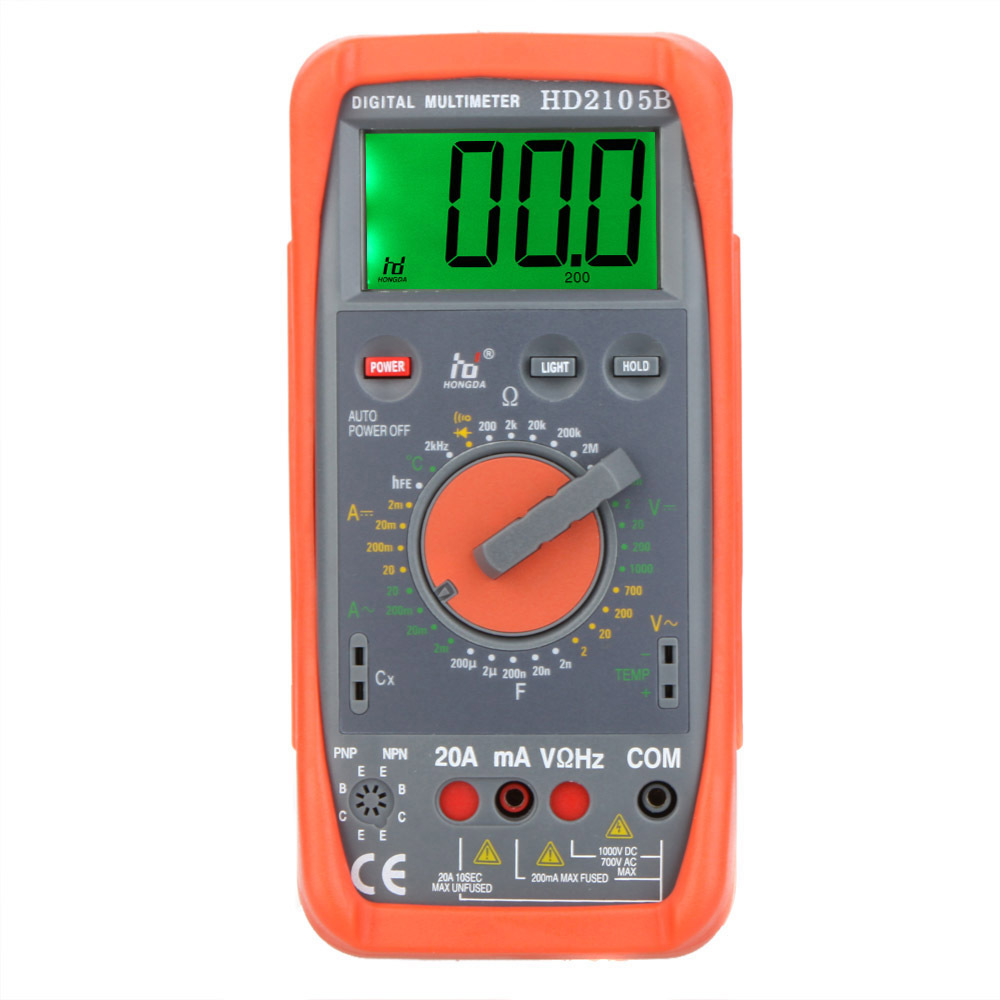 Professional HD HD2105B Digital Multimeter DMM Capacitance Frequency Temperature Meter Tester w/ hFE & LCD Backlight Multimetro(China (Mainland))