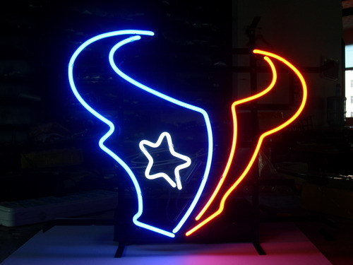 "NEON SIGN board For HOUSTON TEXANS NFL FOOTBALL FOOTBALL GLASS Tube BEER BAR PUB Club Shop Light Signs 17*14""(China (Mainland))"