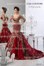 New arrivals red evening dress sweetheart long sleeves mermaid low back sexy prom part dress BO3087(China (Mainland))