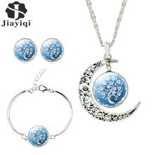Women Fine Romantic Silver Color Jewelry Sets White Blue Tree Picture Glass Moon Pendant Necklace Stud Earrings Bracelet Set(China (Mainland))