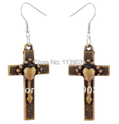 Acrylic earrings Stainless Steel Hook & Circle Cross Love Key Heart Fashion women / girl cute dangle eardrop Hot (A114)(China (Mainland))
