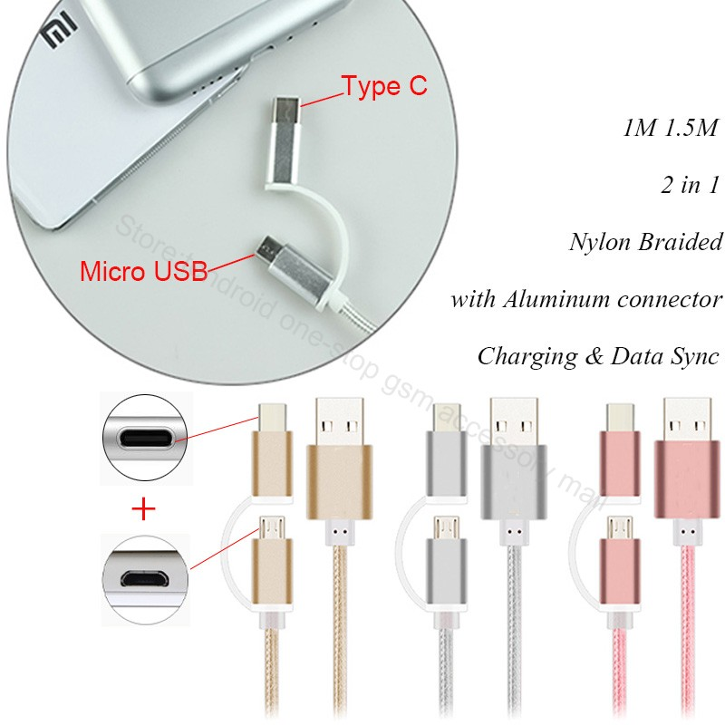 2in1 type c micro usb charger cable cabel for htc 10/oneplus two/letv 2/1 s 1s x500/x600/x800/max x900/zte axon