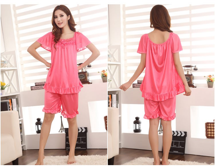 2015 summer women silk chiffon lace short-sleeved pajamas large size XXXXL yards free shipping