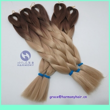 FREE SHIPPING (10ppacks/lot) 24″ 100g synthetic ombre 2 tone color braiding hair brown+24# blonde color to make box braids