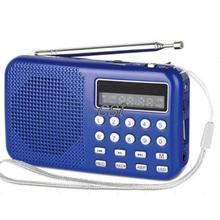 Retail-B MINI Pocket Digital LED Light Stereo FM Radio MP3 Music Player Speaker Blue FS