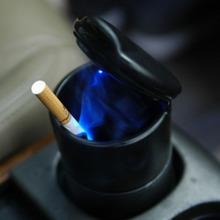 Durable portable car ashtray car interiors Home frame set black dolly travel cigarette ash holder LED lamp ashtray(China (Mainland))
