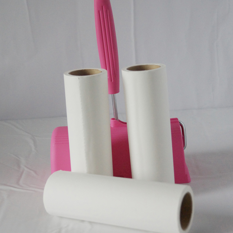 Handheld 90 SHEETS ROLLS LINT CLEANER WHOLE SALE, STICKY LINT REMOVER CLOTHES HAIR DUST CLEANER COME WITH PINK PLASTIC HANDLE(China (Mainland))