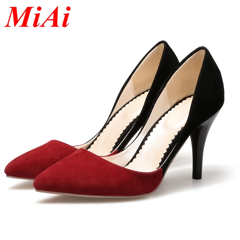 new arrival 2016 women's sexy high heels pointed toe pumps shoes new spring summer shoes office lady shoes pumps plus size 33-42(China (Mainland))