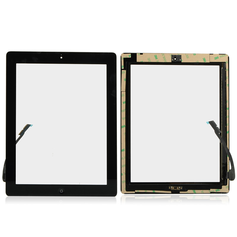 High Quality Front Glass For iPad 3 iPad 4 LCD Digitizer Touch Screen With Home Button Flex Cable Assembly W0M54 T0.4(China (Mainland))