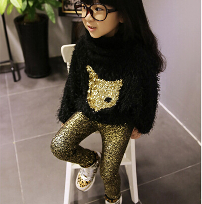 2014 new autumn winter fashion cool fox pattern faux fur pullover+leggings 2 pcs girls clothing sets suit2~7age children clothes(China (Mainland))