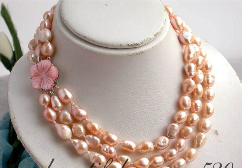 Fast SHIPPING *****Z2146 3row 14mm pink baroque freshwater pearl necklace shell (A0329)<br><br>Aliexpress