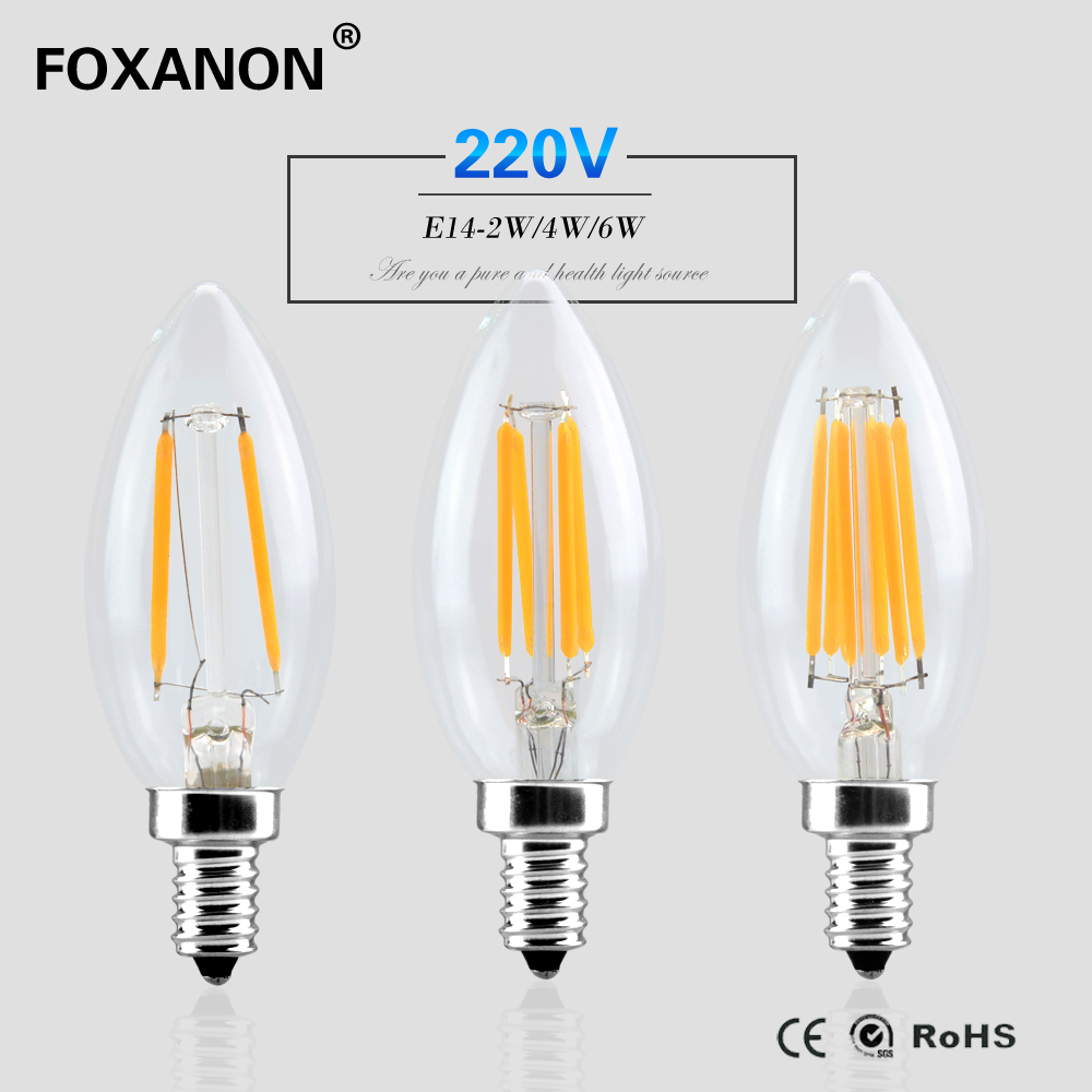 buy foxanon e14 dimmable led light 220v 2w 4w 6w filament lamp candle bulb. Black Bedroom Furniture Sets. Home Design Ideas