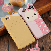 Phone Cases For Apple iPhone 6 6s / Plus / 5 5s Case Cute 3D Cartoon Biscuit Case Soft Silicon Cover Couque For Iphone6 Souple(China (Mainland))