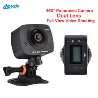 Amkov Amk200s Panorama 360 degree 220Fisheye Dual Lens Camera All View Virtual Reality 3D Glasses 960P 30fp WiFi Sport Camera
