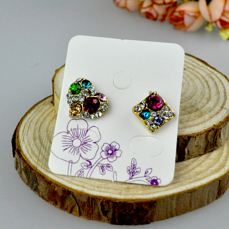 Wholesale White Paper Jewelry Earring Cards, 200pcs/lot Flower Print Ring Earring Display Packaging Tags/Cards Free Shipping(China (Mainland))