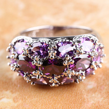 HOT OVAL CUT AMETHYST  JEWELRY SILVER RING SIZE 9 R1-031818(China (Mainland))