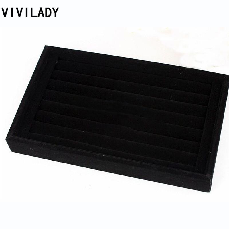 VIVILADY 15*23cm Black Velvet Jewelry displays Cases For Women Rings Free Shipping Big Discount MD53 Bijoux Organizer Showcase(China (Mainland))