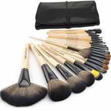 HOT !! Professional 24 Pcs Makeup Brush Set Tools Make-up Toiletry Kit Wool Brand Make Up Brush Set Case Free Shipping(China (Mainland))